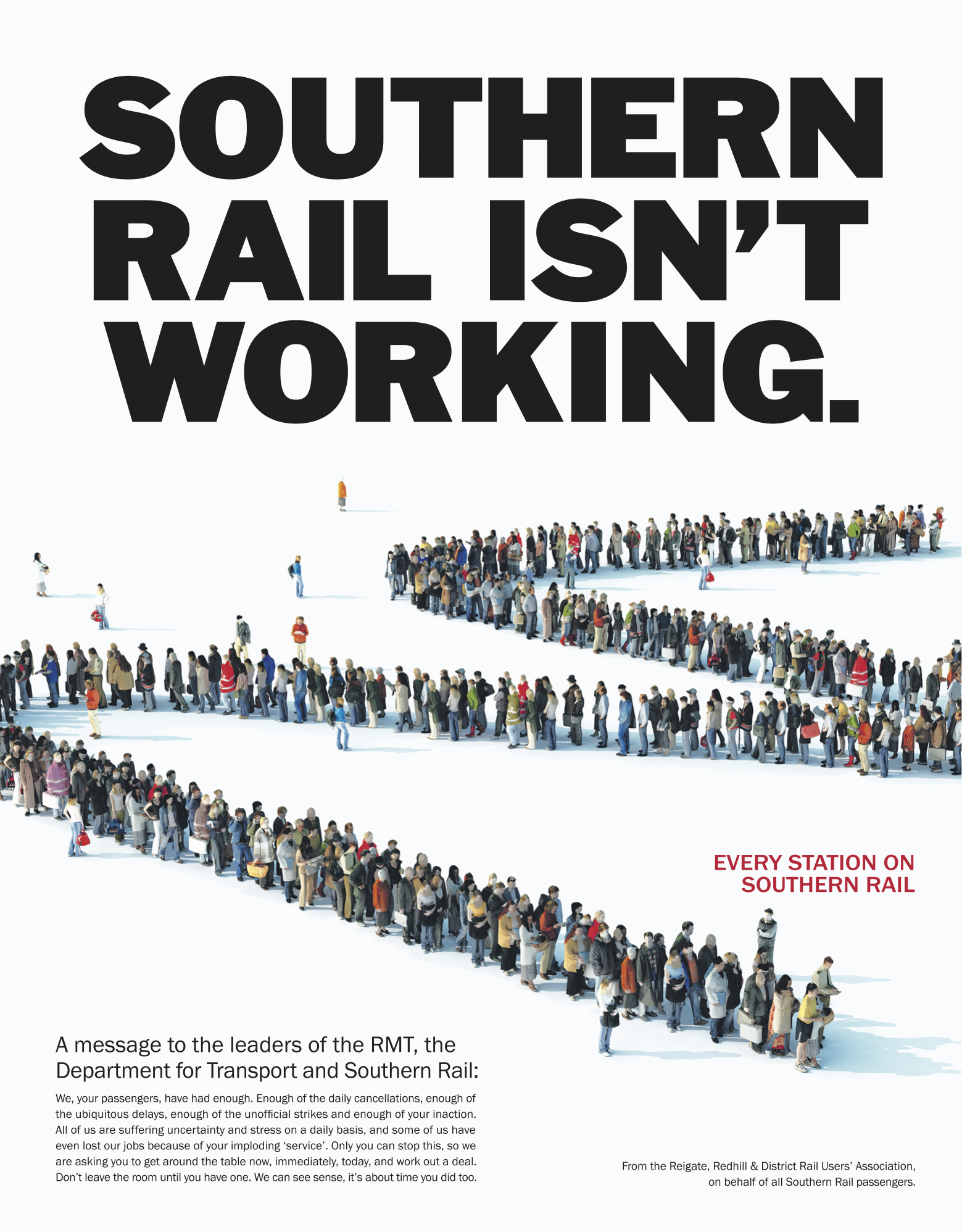 Southern Rails Isn't Working. A message to the leader of the RMT, the Department for Transport and Southern Rail