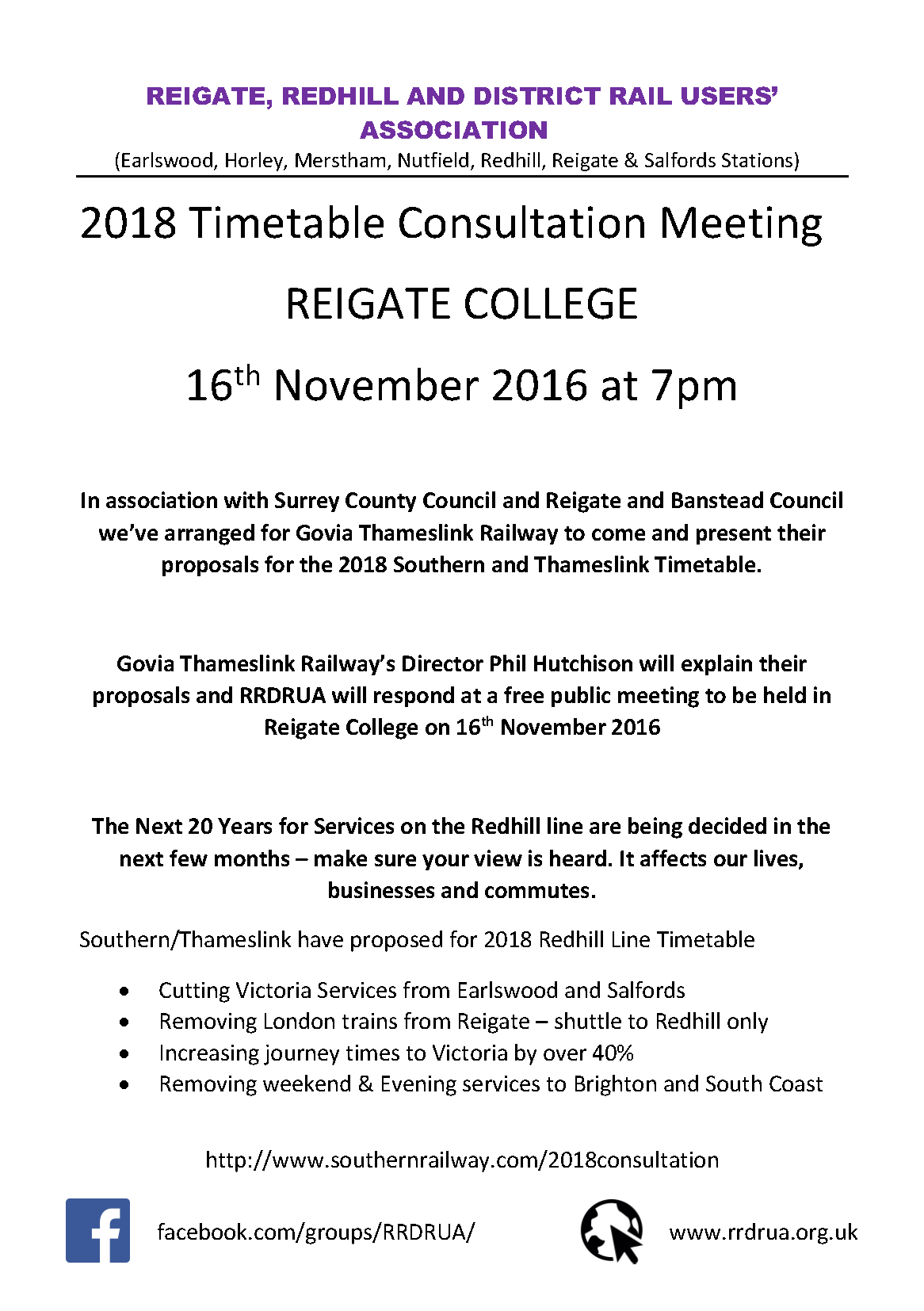 Timetable Consultation meeting