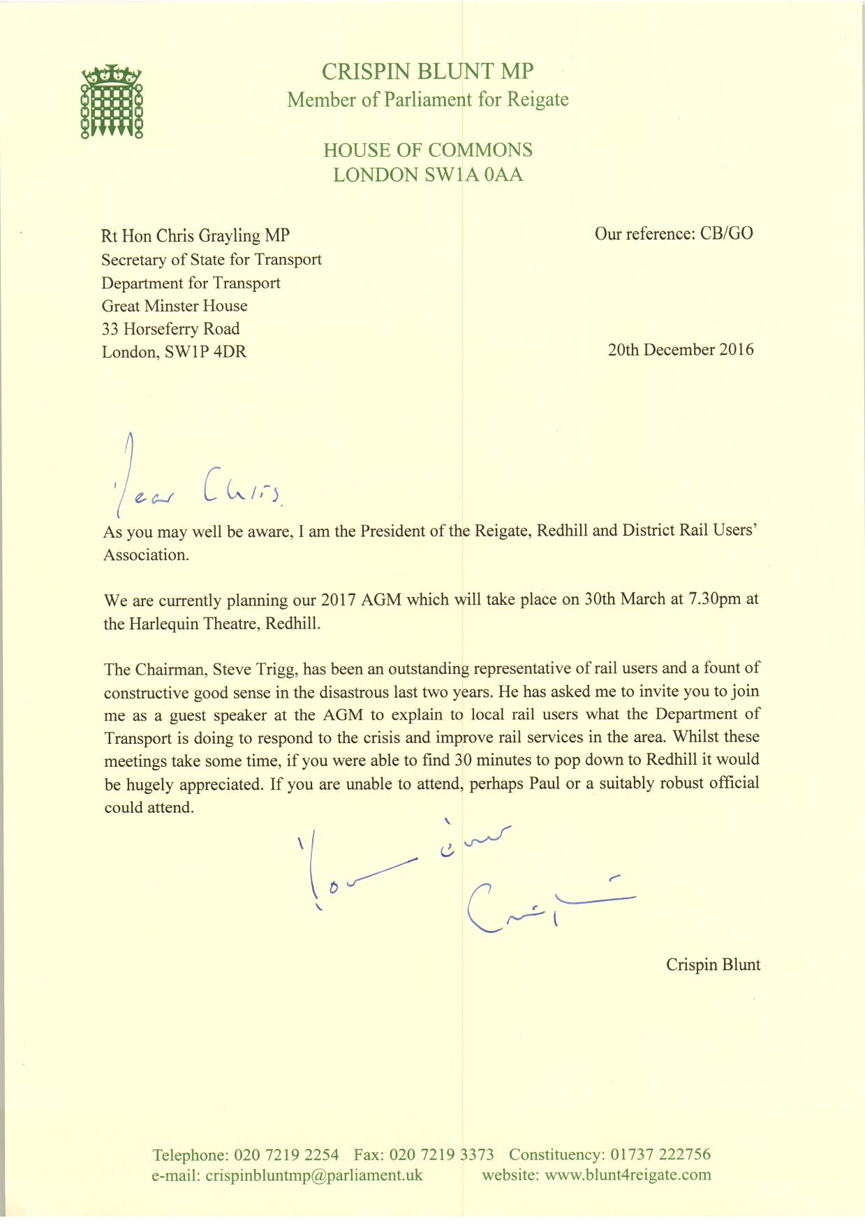 Chris Grayling letter